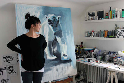 Artist Kal Barteski will talk at the Fab Fem Fundraiser about her experiences as an artist, with polar bears, and living life to the fullest.