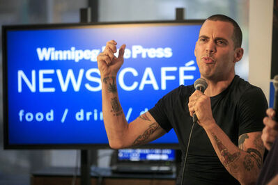 Steve-O of the TV show and movie franchise Jackass was at the Winnipeg Free Press News Café on Wednesday in advance of his stand up show at Rumours Comedy Club Aug 14-18 in Winnipeg.