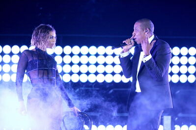 "Beyonce, left, and Jay-Z perform ""Drunk in Love"" at the 56th annual Grammy Awards at Staples Centre."