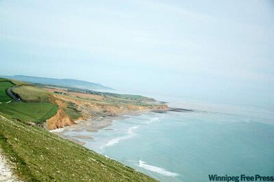 Dramatic cliffs mark the unspoiled coastline of Compton Bay on the Isle of Wight. The region is protected by the National Trust.