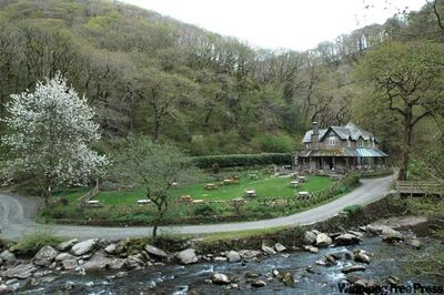 Watersmeet National Trust tea house serves traditional Devonshire cream tea.