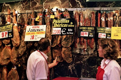 Jamon iberico de bellota at a shop in Madrid. The pricey Spanish pork is cured naturally and left to hang, a process that's under fire in Manitoba.