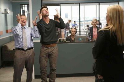 Robin Williams, left, and James Wolk in The Crazy Ones