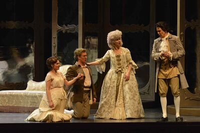 Countess Almaviva (Lara Ciekiewicz) presents Figaro (Gordon Bintner) and Susanna (Andriana Chuchman) to her husband, Count Almaviva (Daniel Okulitch), during Manitoba Opera's production of Mozart's 'Marriage of Figaro.'