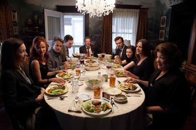 From left: Julianne Nicholson, Juliette Lewis, Dermot Mulroney, Benedict Cumberbatch, Chris Cooper, Ewan McGregor, Abigail Breslin, Julia Roberts and Margo Martindale.