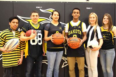 From left to right: Harold Malabuyoc, Chris Donnelly, Charlene Anderson-Ross, Macho Bockru, Emma Smith and Erin White. The Dakota students would love to see a new sporting facility at the school.