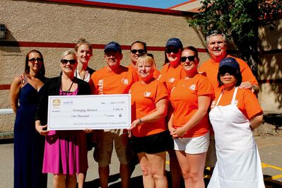 Sodexo and the Best Western Plus Winnipeg Airport Hotel provided Winnipeg Harvest with a cheque of $1,000. Pictured: (Back) Beth Creed, Janelle Duerksen, Grant McFarlane, Geoff Gementiza, Catherine Niesh, and Steve Walker. (Front) Hayley Laudien, Cherry Ann Chandler, Candace Kowalchuk, and Arlene Bugtong.
