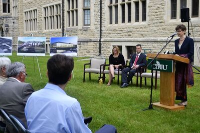 Canadian Mennonite University president Cheryl Pauls speaks at the Grant Ave. campus at the groundbreaking of the school's $13.9-million expansion Monday.