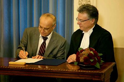 Dave Chomiak, MLA for Kildonan, is sworn in as the Minister of Mineral Resources and as the Minister charged with the administration of the Liquor and Gaming Authority. Chomiak took on these responsibilities in October 2013.