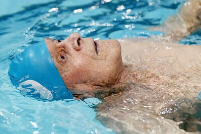 Jaring Timmerman, 105, during his 50-metre backstroke heat during the Catherin Kerr Pentathlon at the Pan Am Pool on Jan. 24.