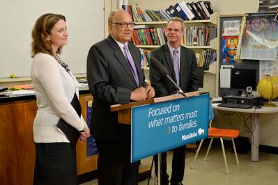 Radisson MLA Bidhu Jha joins Southdale MLA Erin Selby and Minister of Education and Advanced Learning James Allum to announce provincial funding for two new science labs for Collège Béliveau. The announcement took place at the school last June.