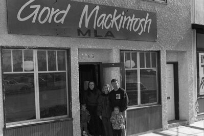 Then-new MLA for St. Johns, Gord Mackintosh, in front of his Main Street constituency office in October 1993.