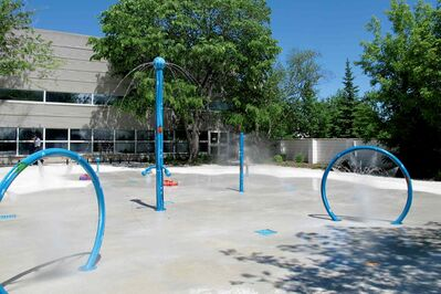 The new splash pad at St. James Centennial Pool.