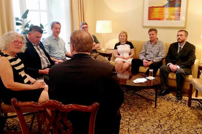 Elmwood-Transcona MP Lawrence Toet and others from Canada's Parliamentarian Delegation are pictured being briefed on what to expect at polling locations in Ukraine.