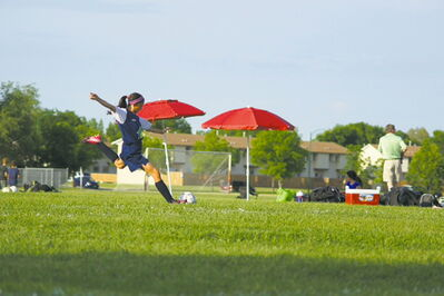 Jessica Tsai shows off the form that has made her the central midfielder for the U12 Bonivital Flames.