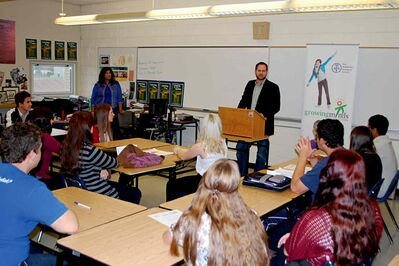 Concordia MLA Matt Wiebe addressing students at River East Collegiate on World Teachers' Day.
