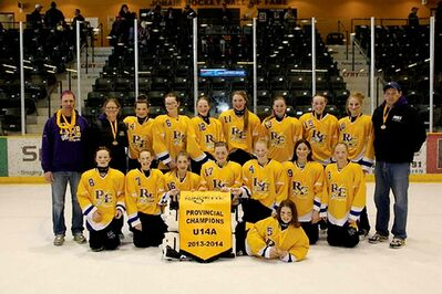 River East Kaos U14A team, 2014 provincial champs! Back row: head coach Kevin Dyck, assistant coach Corrie Mitchell, Amanda Hedman, Lauren Senden, Samantha Taylor, Emily Sinclair, Rebecca Melsted, Danika Magalas, Kaiaira Boyechko, assistant coach Roland Sinclair; second row: Makayla Kaatz, Halle Dyck, Keely Soloway, Ainsley Brown, Lexi Ellis, Jordan Takenaka, Jordyn Spitula; front row: goalie Shelby Mitchell.