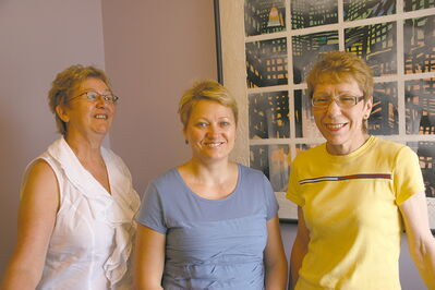 (L-R) Diane O'Neil, Alevtina Tuhari and Gisele Sly of Reliable Home Care Agency at their Portage Avenue offices.