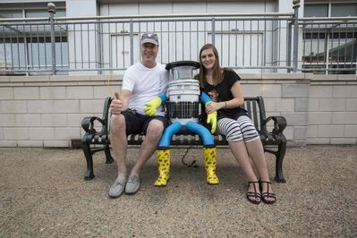 David Harris Smith and Frauke Zeller with hitchBOT in Halifax before it set off on its adventure.