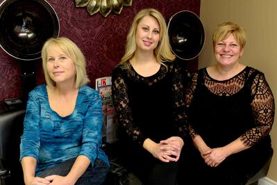 From left: Co-owners Gail and Amanda Smerchynski, and Cortex Hair Salon stylist Debbie Collins.