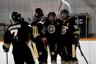 The Garden City Gophers celebrate a goal during Wednesday evening's game against the Murdoch Mackay Clansmen.