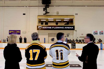 In honour of former University of Manitoba Bisons hockey player and NHL coach Wayne Fleming -- who passed away in March 2013 -- the arena inside the Max Bell Centre was officially renamed as the Wayne Fleming Arena during a ceremony Friday night, ahead of the Bisons game against the visiting Alberta Golden Bears.