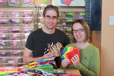 Scott (left) and Crystal Burton sells reusable cloth menstraul pads out of their home-based business, Tree Hugger Cloth Pads.