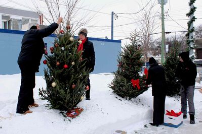 Some local businesses were trimming trees Thursday afternoon as part of the Transcona BIZ's first Christmas tree decorating competition.