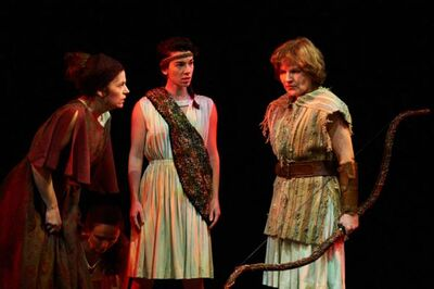From left, Sharon Bajer, Gwendolyn Collins and Sarah Constible in The Penelopiad.