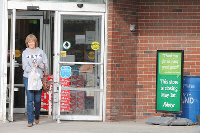 Liz Wiebe emerges from Sobeys after a quick shop last Wednesday. She said she understands why Sobeys is closing the store.