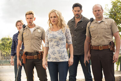 from left, Sam Trammell, Ryan Kwanten, Anna Paquin, Joe Manganiello and Chris Bauer.