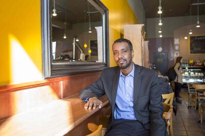 """Abdi Waresame is the first Somali to be elected to Minneapolis city council. """"We are the drivers of small business in Minneapolis, us and the Latinos,"""" he says."""