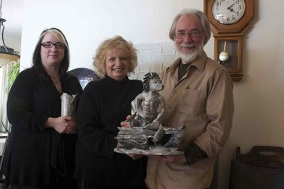 Apr. 1/14 - Odia Reimer, Wilma Derksen, and Cliff Derksen are shown with their respective works of art in the Derksen's Fort Richmond home. (DAN FALLOON/CANSTAR COMMUNITY NEWS/HERALD)