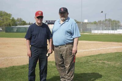 Elmwood Giants past-president Al Kinley (right) and construction project manager Bev Fisher are shown at Giants Field, which is completing renovations.