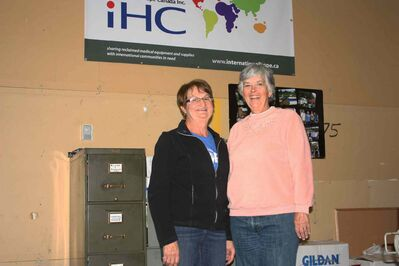 Sonia Michalyshen and Phyllis Reader are shown in International HOPE's Yukon Avenue warehouse.