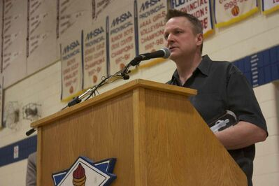 River East Collegiate music teacher Jeff Kula speaks after being announced as the MusiCounts teacher of the year on March 26.