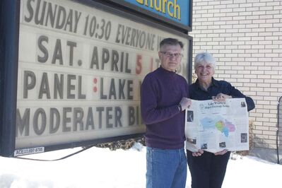 Jim and Luella Stephens of John Black United Church are shown outside the church.