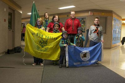 Members of the local Winnipeg East No. 9 Scouts are shown during their weekly meeting at Sun Valley School. Back row: Andrew Moran, Dawn Comming, and Tyler Mailey. Front row: Jason Moran, Riley Kelm, Colin Van de Vooren, Levi Whiklo, and Shaun Bisset.
