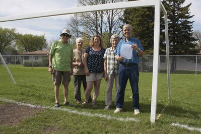 Transcona residents are shown at a mini-soccer pitch at Victoria Jason Park that will be lost as a new seniors' centre is built. From left to right, John Kessling, Ruby Kenning, Sharon McLaughlin, Elsie Duynisveld, and Bill Duynisveld.