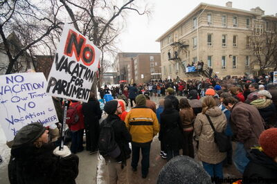 Protesters attend an anti-prorogation protest at the University of Winnipeg. The protesters marched from the university to the Manitoba legislature Saturday afternoon.