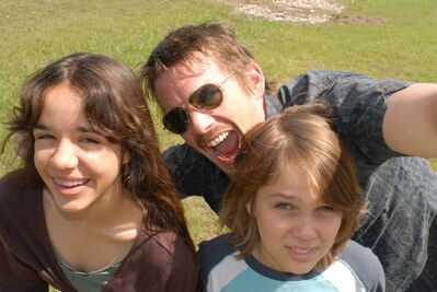 Ethan Hawke (as Mason Sr.) worked over a 12-year period with Coltrane (right) and Lorelei Linklater on Boyhood.