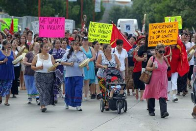 About 300 people attended a rally Wednesday morning, organized by the Assembly of Manitoba Chiefs, on the issue of murdered and missing women.