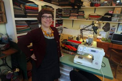 Designer Melanie Wesley in her home studio workshop.