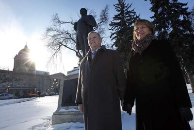 Iceland's Consul General Atli Ásmudsson and his wife Thrudur Helgadóttir standing in front of the Jón Sigurdsson statue at the Manitoba Legislature grounds. Sigurdsson was an Icelandic patriot and statesman who helped Iceland gain independence.