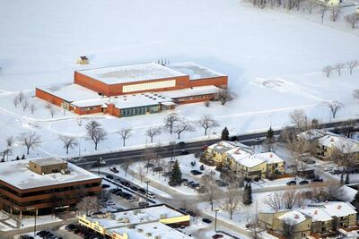 An aerial view of Lipsett Hall and the land at the northwest corner of Grant Avenue and Kenaston Boulevard. The building and land, part of Kapyong Barracks, has sat vacant since the 2nd Battalion Princess Patricia's Canadian Light Infantry consolidated at CFB Shilo in the 2000s.