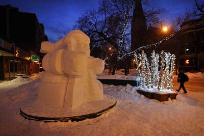Snow sculptures are showing up all over the city in preparation for the Festival du Voyageur which runs Feb. 15- 24. A snow Voyageur has taken up residence at River Avenue and Osborne Street.