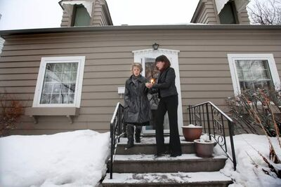 Terminally ill Susan Griffiths leaves her home in Winnipeg for the last time with her daughter, Natasha Griffiths.