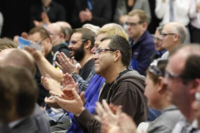 Boeing employees applaud during the announcement of the Winnipeg plant expansion Tuesday morning.