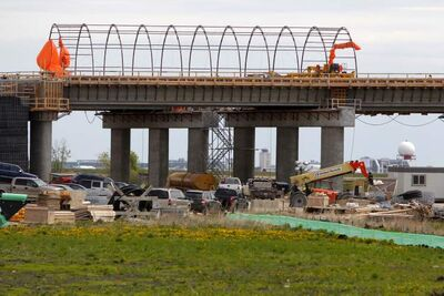 The new rail overpass off Inkster Boulevard for CentrePort is under construction. CentrePort has found a way around a First Nations legal challenge, but it could be financially draining.