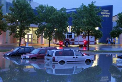 Flash flooding in the parking lot of Grant Memorial Church.